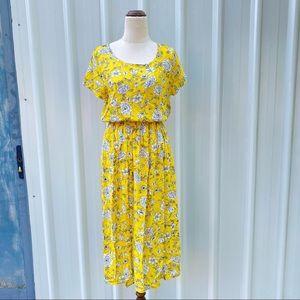 Temt Floral Midi Blouson Dress Size 10 Yellow Spring Summer